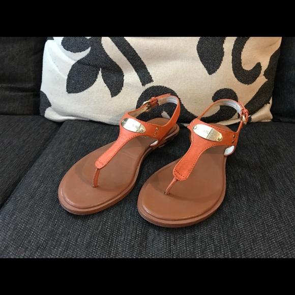 4a9f59e1691 Michael Kors - Peach Orange T Strap Sandal! M 5ad9efb972ea880869791ea4